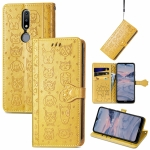 For Nokia 2.4 Lovely Cat and Dog Embossing Pattern Horizontal Flip Leather Case , with Holder & Card Slots & Wallet & Cartoon Clasp & Lanyard(Yellow)