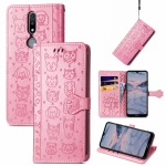 For Nokia 2.4 Lovely Cat and Dog Embossing Pattern Horizontal Flip Leather Case , with Holder & Card Slots & Wallet & Cartoon Clasp & Lanyard(Pink)