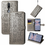 For Nokia 2.4 Lovely Cat and Dog Embossing Pattern Horizontal Flip Leather Case , with Holder & Card Slots & Wallet & Cartoon Clasp & Lanyard(Grey)