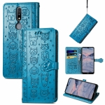 For Nokia 2.4 Lovely Cat and Dog Embossing Pattern Horizontal Flip Leather Case , with Holder & Card Slots & Wallet & Cartoon Clasp & Lanyard(Blue)