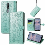 For Nokia 2.4 Lovely Cat and Dog Embossing Pattern Horizontal Flip Leather Case , with Holder & Card Slots & Wallet & Cartoon Clasp & Lanyard(Green)
