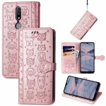 For Nokia 2.4 Lovely Cat and Dog Embossing Pattern Horizontal Flip Leather Case , with Holder & Card Slots & Wallet & Cartoon Clasp & Lanyard(Rose Gold)