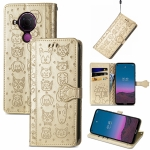 For Nokia 5.4 Lovely Cat and Dog Embossing Pattern Horizontal Flip Leather Case , with Holder & Card Slots & Wallet & Cartoon Clasp & Lanyard(Gold)