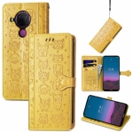 For Nokia 5.4 Lovely Cat and Dog Embossing Pattern Horizontal Flip Leather Case , with Holder & Card Slots & Wallet & Cartoon Clasp & Lanyard(Yellow)