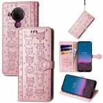 For Nokia 5.4 Lovely Cat and Dog Embossing Pattern Horizontal Flip Leather Case , with Holder & Card Slots & Wallet & Cartoon Clasp & Lanyard(Rose Gold)
