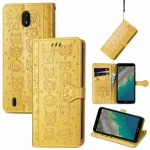 For Nokia C01 Plus Lovely Cat and Dog Embossing Pattern Horizontal Flip Leather Case , with Holder & Card Slots & Wallet & Cartoon Clasp & Lanyard(Yellow)