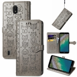 For Nokia C01 Plus Lovely Cat and Dog Embossing Pattern Horizontal Flip Leather Case , with Holder & Card Slots & Wallet & Cartoon Clasp & Lanyard(Grey)