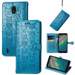 For Nokia C01 Plus Lovely Cat and Dog Embossing Pattern Horizontal Flip Leather Case , with Holder & Card Slots & Wallet & Cartoon Clasp & Lanyard(Blue)