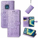 For Nokia XR20 Lovely Cat and Dog Embossing Pattern Horizontal Flip Leather Case , with Holder & Card Slots & Wallet & Cartoon Clasp & Lanyard(Purple)
