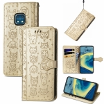 For Nokia XR20 Lovely Cat and Dog Embossing Pattern Horizontal Flip Leather Case , with Holder & Card Slots & Wallet & Cartoon Clasp & Lanyard(Gold)