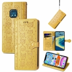 For Nokia XR20 Lovely Cat and Dog Embossing Pattern Horizontal Flip Leather Case , with Holder & Card Slots & Wallet & Cartoon Clasp & Lanyard(Yellow)