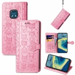 For Nokia XR20 Lovely Cat and Dog Embossing Pattern Horizontal Flip Leather Case , with Holder & Card Slots & Wallet & Cartoon Clasp & Lanyard(Pink)