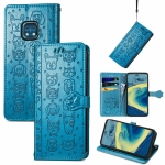 For Nokia XR20 Lovely Cat and Dog Embossing Pattern Horizontal Flip Leather Case , with Holder & Card Slots & Wallet & Cartoon Clasp & Lanyard(Blue)