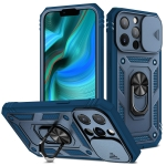 Sliding Camera Cover Design TPU + PC Protective Case with 360 Degree Rotating Holder & Card Slot For iPhone 13 Pro(Blue+Blue)