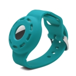 Anti-scratch Shockproof Silicone Bracelet Strap Protective Cover Case For AirTag(Lake Blue)