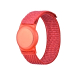 Anti-scratch Shockproof Nylon Bracelet Strap TPU Protective Cover Case For AirTag(Red)