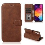 For Samsung Galaxy A70 Calf Texture Magnetic Buckle Horizontal Flip Leather Case with Holder & Card Slots & Wallet & Photo Frame(Coffee)