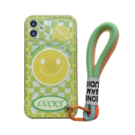 Smiley Face Pattern TPU Accurate Hole Protective Case with Wristband For iPhone 12(Yellow)