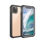 Waterproof Dustproof Shockproof Transparent Acrylic Protective Case For iPhone 11 Pro Max(Black)