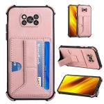 For Xiaomi Poco X3 NFC / Poco X3 / Poco X3 Pro Dream PU + TPU Four-corner Shockproof Back Cover Case with Card Slots & Holder(Rose Gold)