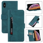 Reverse Buckle Horizontal Flip PU Leather Case with Holder & Card Slot & Wallet For iPhone XR(Lake Blue)