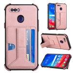 For OPPO F9 / A7x Dream PU + TPU Four-corner Shockproof Back Cover Case with Card Slots & Holder(Rose Gold)