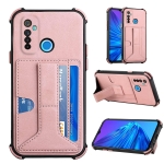 For OPPO Realme 5 / Realme C3 Dream PU + TPU Four-corner Shockproof Back Cover Case with Card Slots & Holder(Rose Gold)