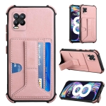 For OPPO Realme 8 Dream PU + TPU Four-corner Shockproof Back Cover Case with Card Slots & Holder(Rose Gold)