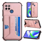 For OPPO Realme C12 / C25 Dream PU + TPU Four-corner Shockproof Back Cover Case with Card Slots & Holder(Rose Gold)