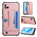 For OPPO Realme C20 Dream PU + TPU Four-corner Shockproof Back Cover Case with Card Slots & Holder(Rose Gold)