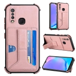 For vivo Y12i / Y11 / Y12 / Y15 / Y17 Dream PU + TPU Four-corner Shockproof Back Cover Case with Card Slots & Holder(Rose Gold)
