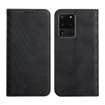 For Samsung Galaxy S20 Ultra Diamond Pattern Splicing Skin Feel Magnetic Horizontal Flip Leather Case with Card Slots & Holder & Wallet(Black)