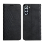 For Samsung Galaxy S21 FE Diamond Pattern Splicing Skin Feel Magnetic Horizontal Flip Leather Case with Card Slots & Holder & Wallet(Black)