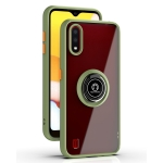 For Samsung Galaxy A01 US Version Q Shadow 1 Series TPU + PC Protective Case with 360 Degrees Rotate Ring Holder(Army Green+Orange)