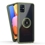 For Samsung Galaxy A51 Q Shadow 1 Series TPU + PC Protective Case with 360 Degrees Rotate Ring Holder(Army Green+Orange)