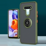 For LG K51 Q Shadow 1 Series TPU + PC Protective Case with 360 Degrees Rotate Ring Holder(Army Green+Orange)