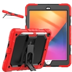 Shockproof Colorful Silica Gel + PC Protective Case with Holder & Shoulder Strap For iPad 10.2 2019 / 2020(Red)