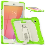 Shockproof Colorful Silica Gel + PC Protective Case with Holder & Shoulder Strap For iPad 10.2 2019 / 2020(Yellow Green)