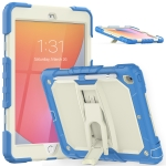 Shockproof Colorful Silica Gel + PC Protective Case with Holder & Shoulder Strap For iPad 10.2 2019 / 2020(Cyan Blue)