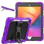Shockproof Colorful Silica Gel + PC Protective Case with Holder & Shoulder Strap For iPad 10.2 2019 / 2020(Purple)