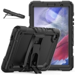 Shockproof Colorful Silica Gel + PC Protective Case with Holder & Shoulder Strap For Samsung Galaxy A7 Lite T220 / T225(Black)