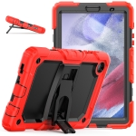 Shockproof Colorful Silica Gel + PC Protective Case with Holder & Shoulder Strap For Samsung Galaxy A7 Lite T220 / T225(Red)