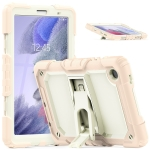 Shockproof Colorful Silica Gel + PC Protective Case with Holder & Shoulder Strap For Samsung Galaxy A7 Lite T220 / T225(Rose Gold)
