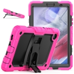 Shockproof Colorful Silica Gel + PC Protective Case with Holder & Shoulder Strap For Samsung Galaxy A7 Lite T220 / T225(Rose Red)