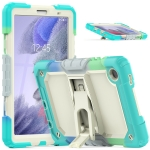 Shockproof Colorful Silica Gel + PC Protective Case with Holder & Shoulder Strap For Samsung Galaxy A7 Lite T220 / T225(Colorful Blue)