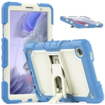 Shockproof Colorful Silica Gel + PC Protective Case with Holder & Shoulder Strap For Samsung Galaxy A7 Lite T220 / T225(Cyan Blue)