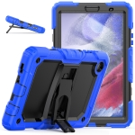 Shockproof Colorful Silica Gel + PC Protective Case with Holder & Shoulder Strap For Samsung Galaxy A7 Lite T220 / T225(Dark Blue)