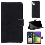 For Samsung Galaxy A22 4G Retro Frosted Horizontal Flip PU Leather Case with Holder & Card Slots & Wallet & Photo Frame(Black)