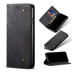 Denim Texture Casual Style Horizontal Flip Leather Case with Holder & Card Slots & Wallet For iPhone 13 Pro(Black)