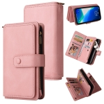 Skin Feel PU + TPU Horizontal Flip Leather Case with Holder & 15 Cards Slot & Wallet & Zipper Pocket & Lanyard For iPhone 13 Pro(Pink)